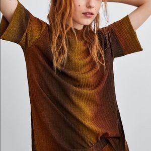 Zara Ombré Short Sleeves Sweater Top